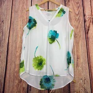 🌿5/$25 Sale Liz Claiborne White & Floral Tank